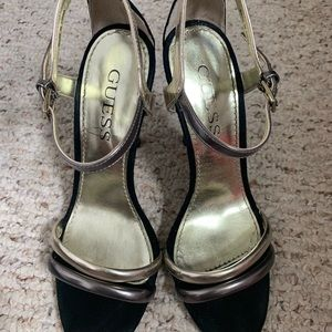 Guess Wgaimy black, gold & silver stiletto heels